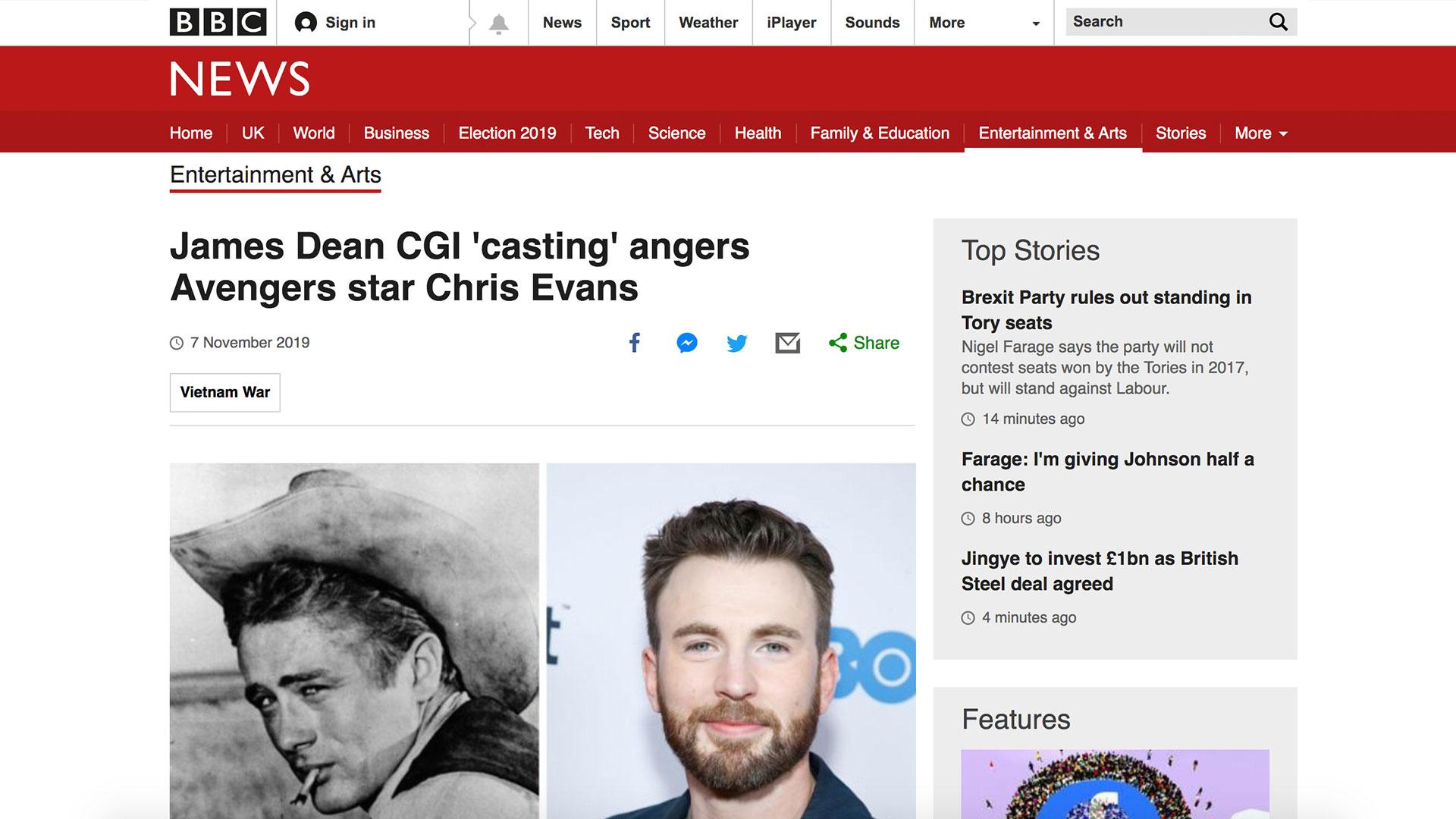 Fairness Rocks News James Dean CGI 'casting' angers Avengers star Chris Evans
