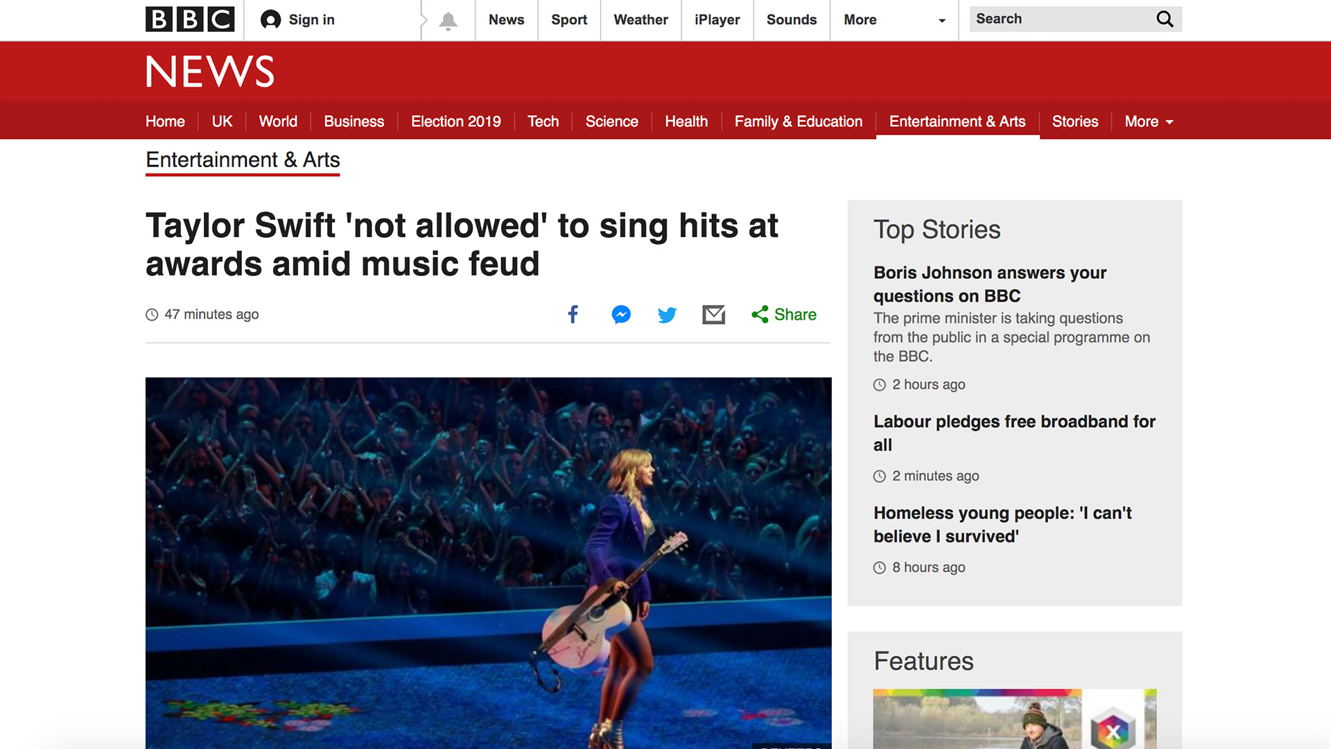 Fairness Rocks News Taylor Swift 'not allowed' to sing hits at awards amid music feud