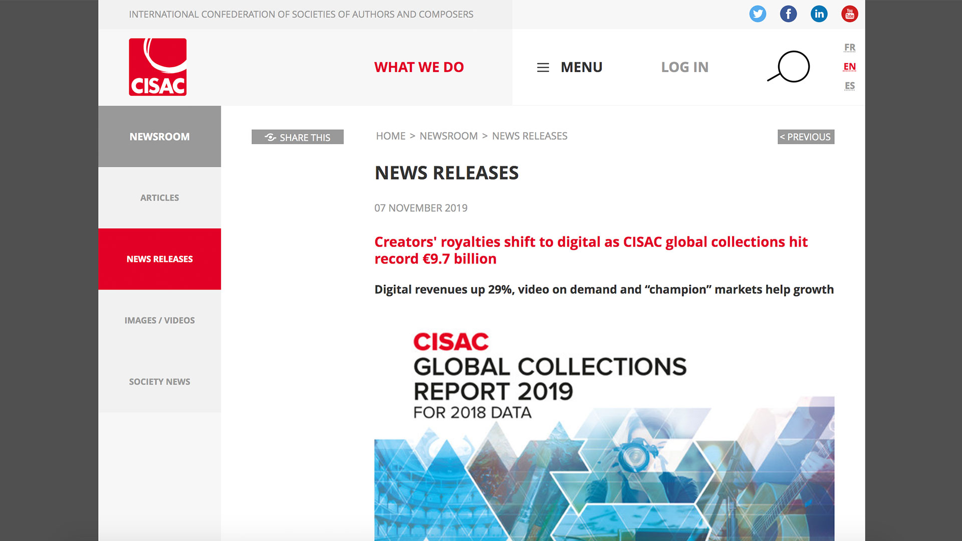 Fairness Rocks News Creators' royalties shift to digital as CISAC global collections hit record €9.7 billion