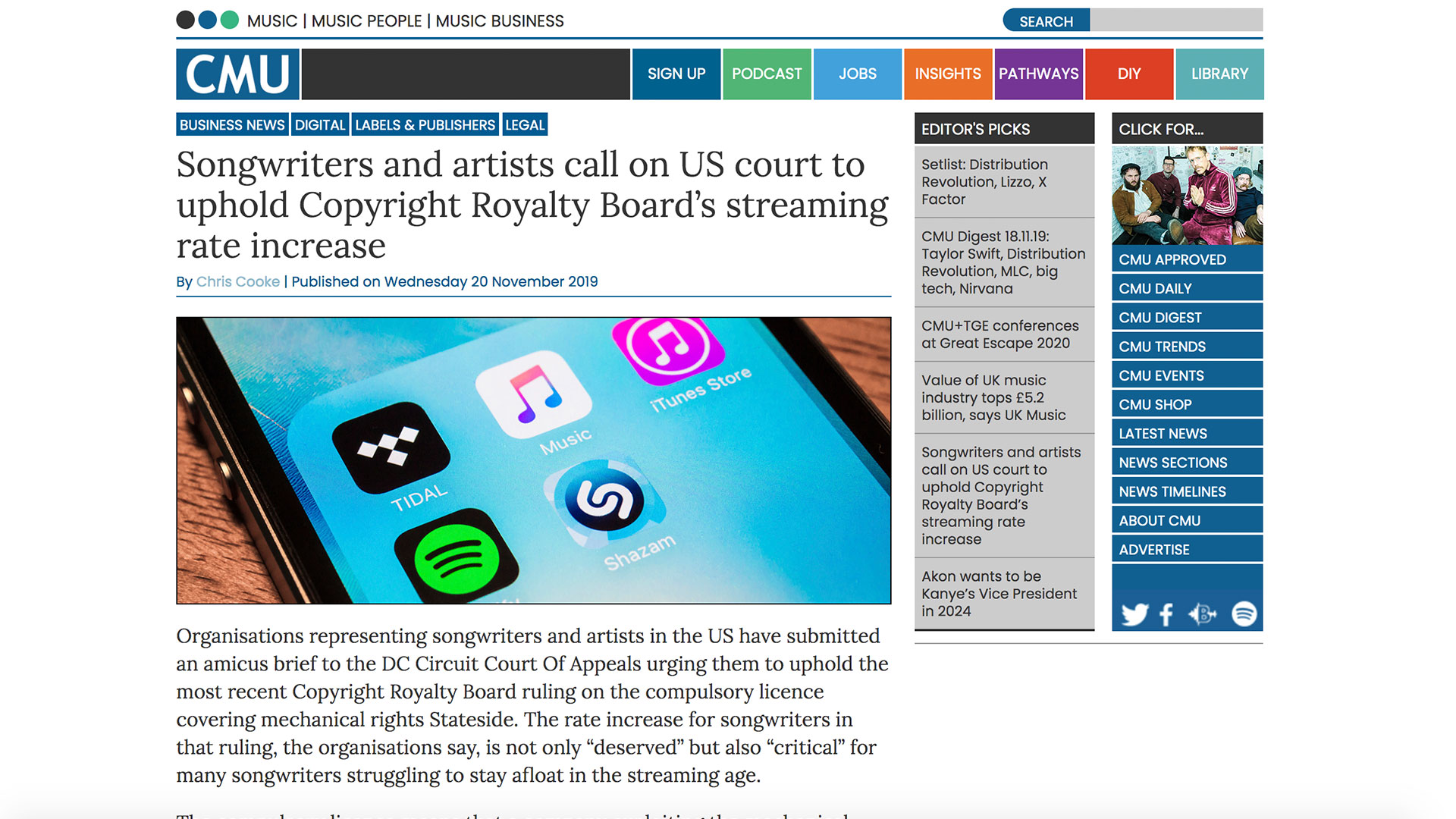 Fairness Rocks News Songwriters and artists call on US court to uphold Copyright Royalty Board's streaming rate increase