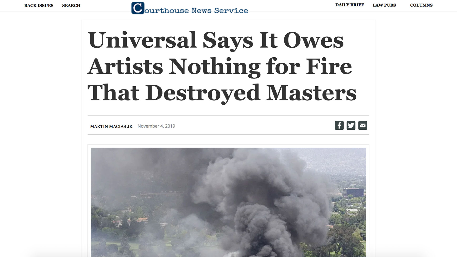 Fairness Rocks News Universal Says It Owes Artists Nothing for Fire That Destroyed Masters