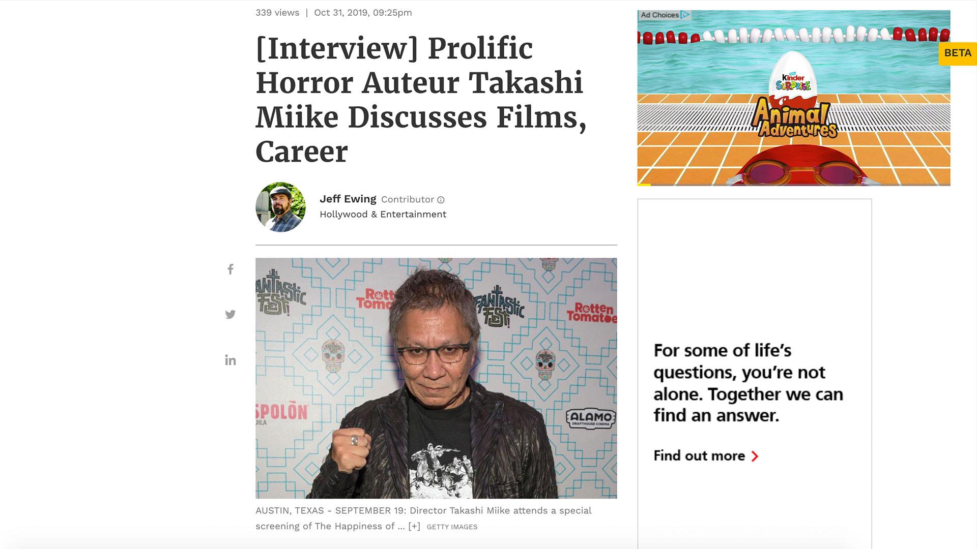 Fairness Rocks News [Interview] Prolific Horror Auteur Takashi Miike Discusses Films, Career