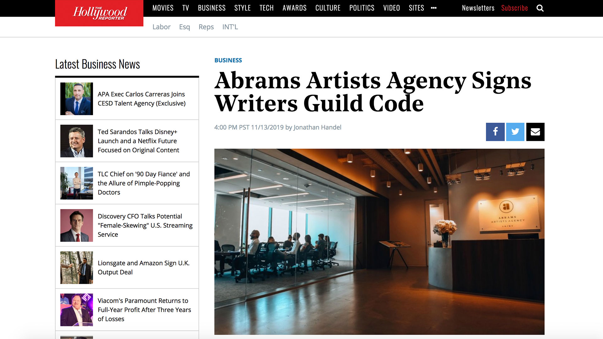 Fairness Rocks News Abrams Artists Agency Signs Writers Guild Code
