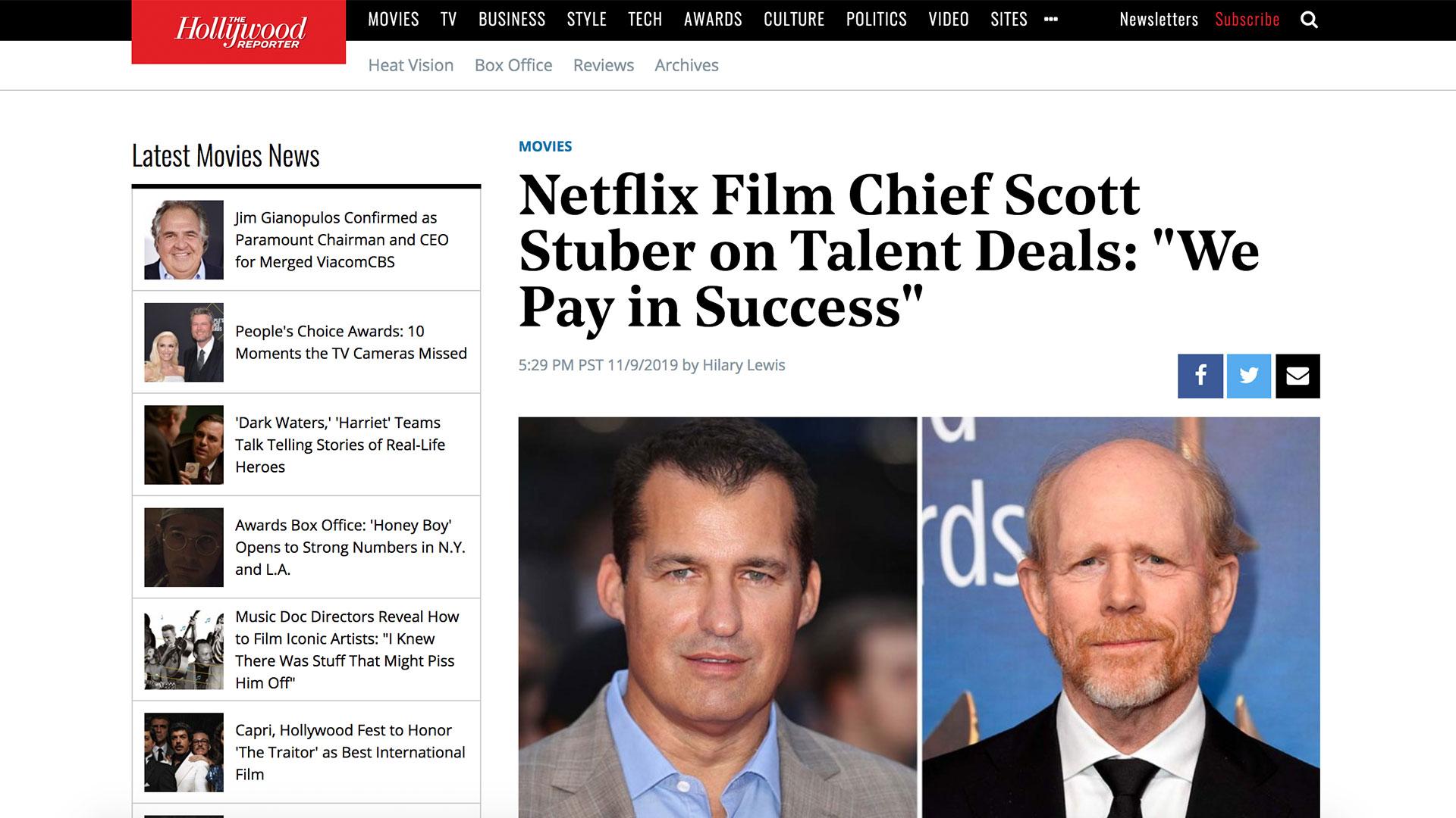 """Fairness Rocks News Netflix Film Chief Scott Stuber on Talent Deals: """"We Pay in Success"""""""