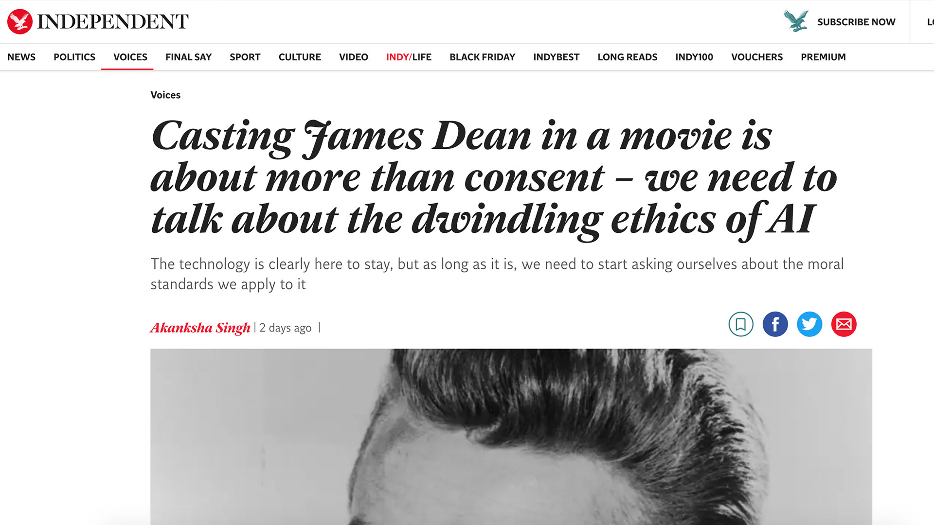 Fairness Rocks News Casting James Dean in a movie is about more than consent – we need to talk about the dwindling ethics of AI