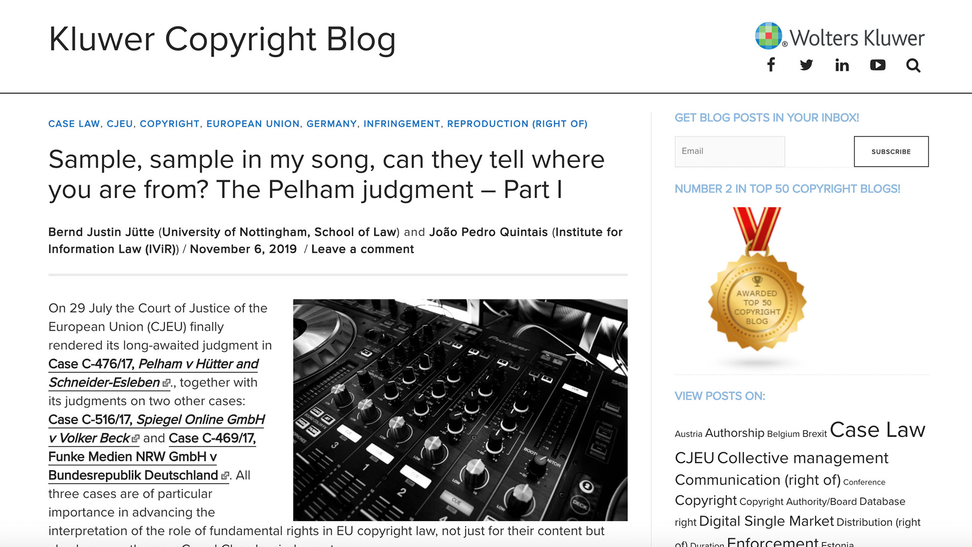 Fairness Rocks News Sample, sample in my song, can they tell where you are from? The Pelham judgment – Part I