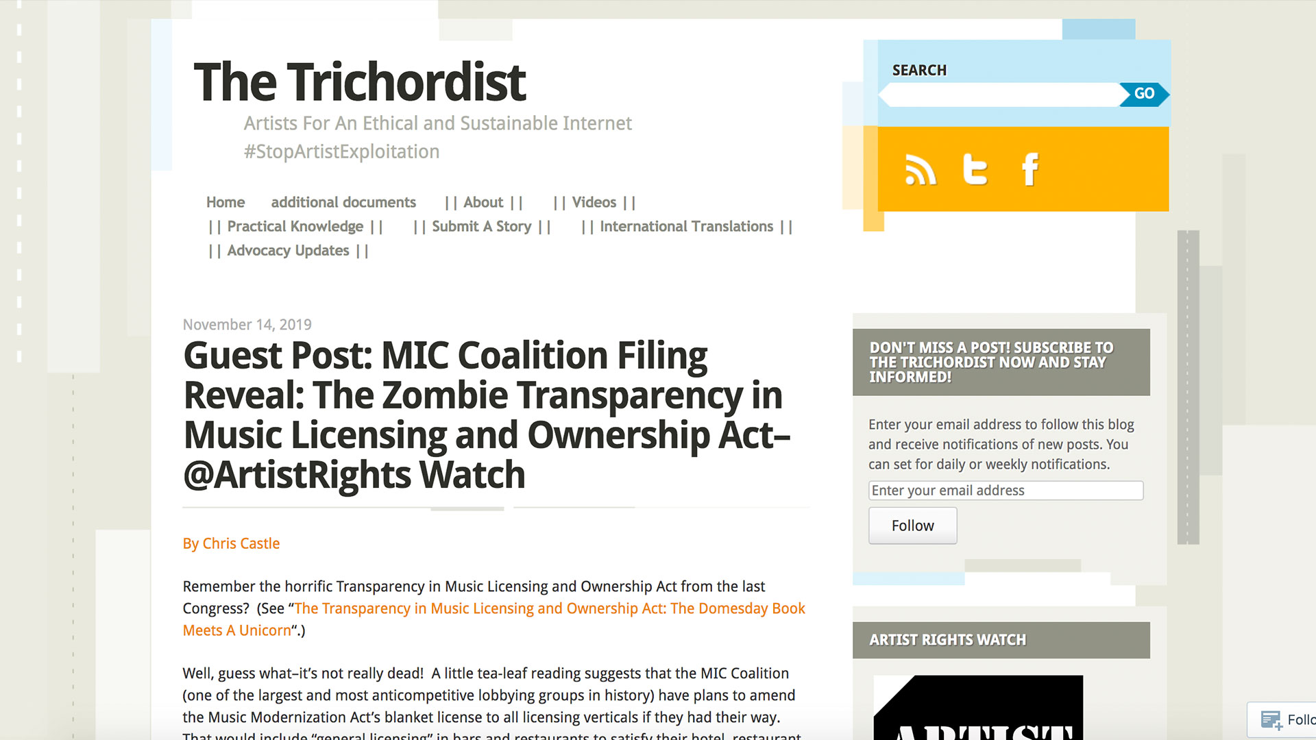 Fairness Rocks News Guest Post: MIC Coalition Filing Reveal: The Zombie Transparency in Music Licensing and Ownership Act–@ArtistRights Watch