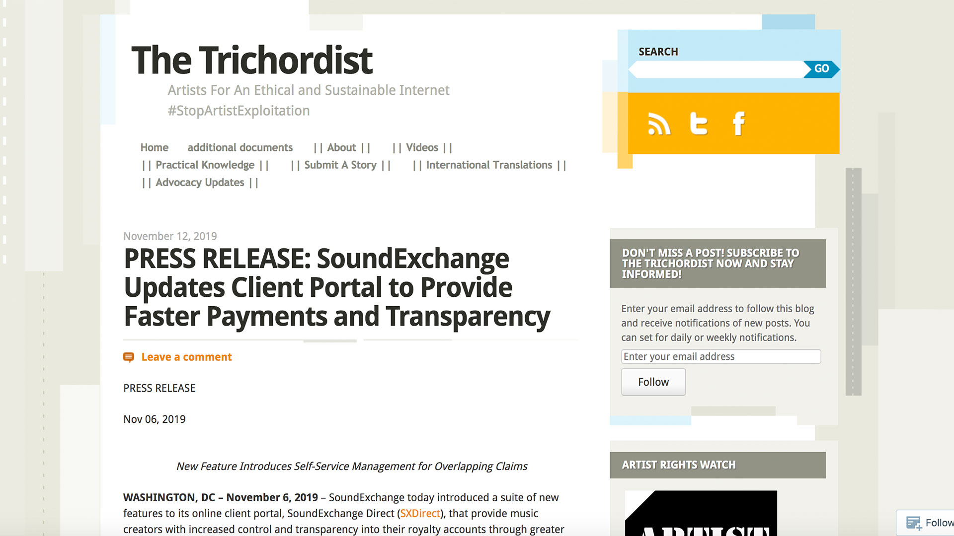 Fairness Rocks News PRESS RELEASE: SoundExchange Updates Client Portal to Provide Faster Payments and Transparency