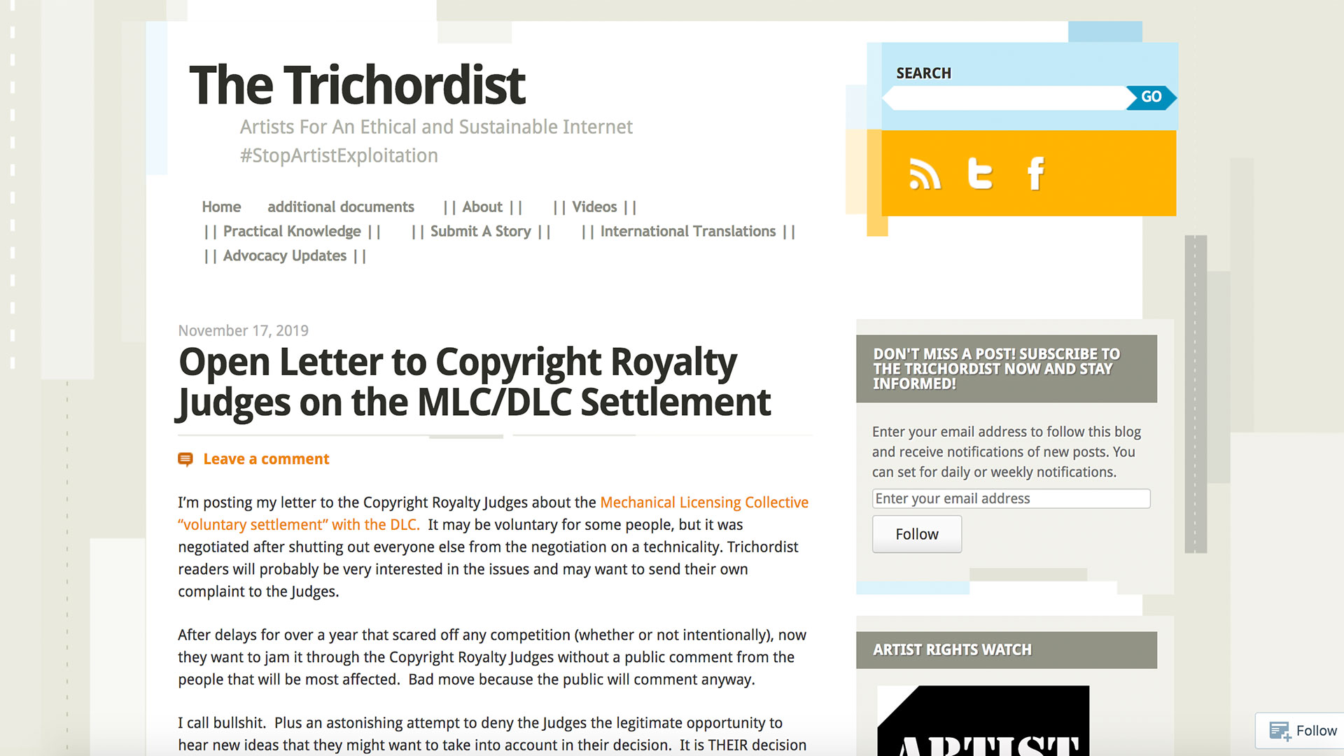 Fairness Rocks News Open Letter to Copyright Royalty Judges on the MLC/DLC Settlement