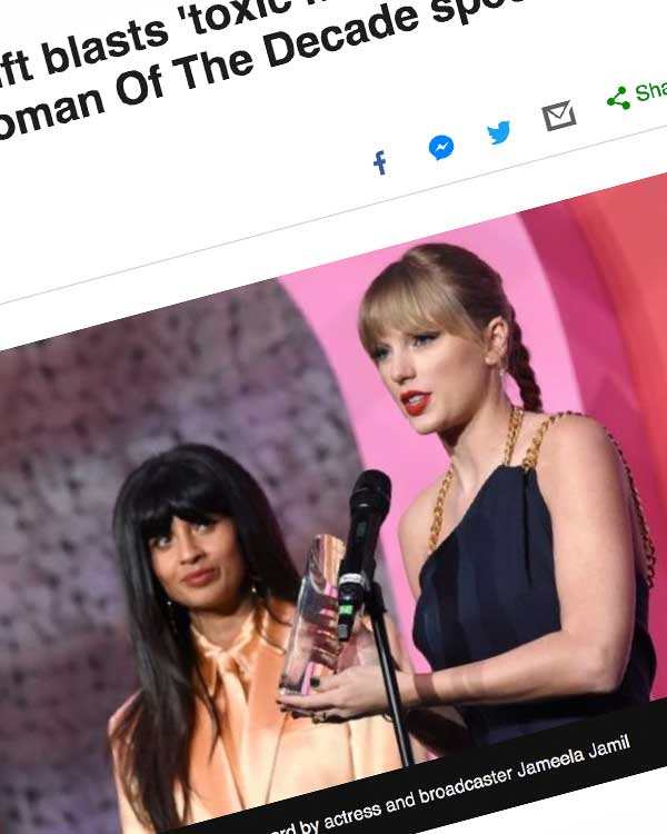 Fairness Rocks News Taylor Swift blasts 'toxic male privilege' during Woman Of The Decade speech