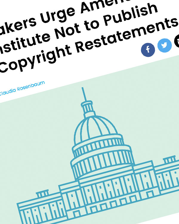 Fairness Rocks News Lawmakers Urge American Law Institute Not to Publish New Copyright Restatements
