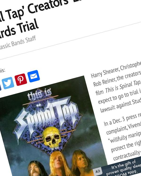 Fairness Rocks News 'Spinal Tap' Creators' Lawsuit Heading Towards Trial