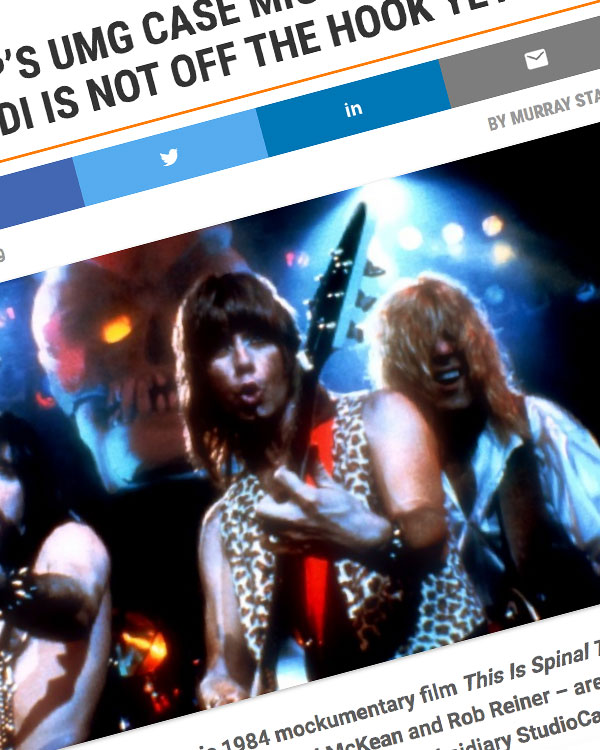 Fairness Rocks News SPINAL TAP'S UMG CASE MIGHT BE OVER, BUT VIVENDI IS NOT OFF THE HOOK YET