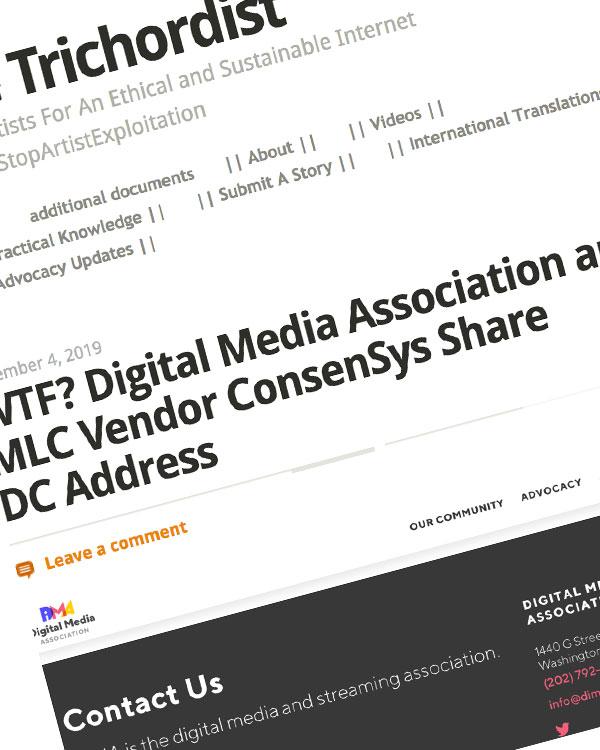 Fairness Rocks News WTF? Digital Media Association and MLC Vendor ConsenSys Share DC Address