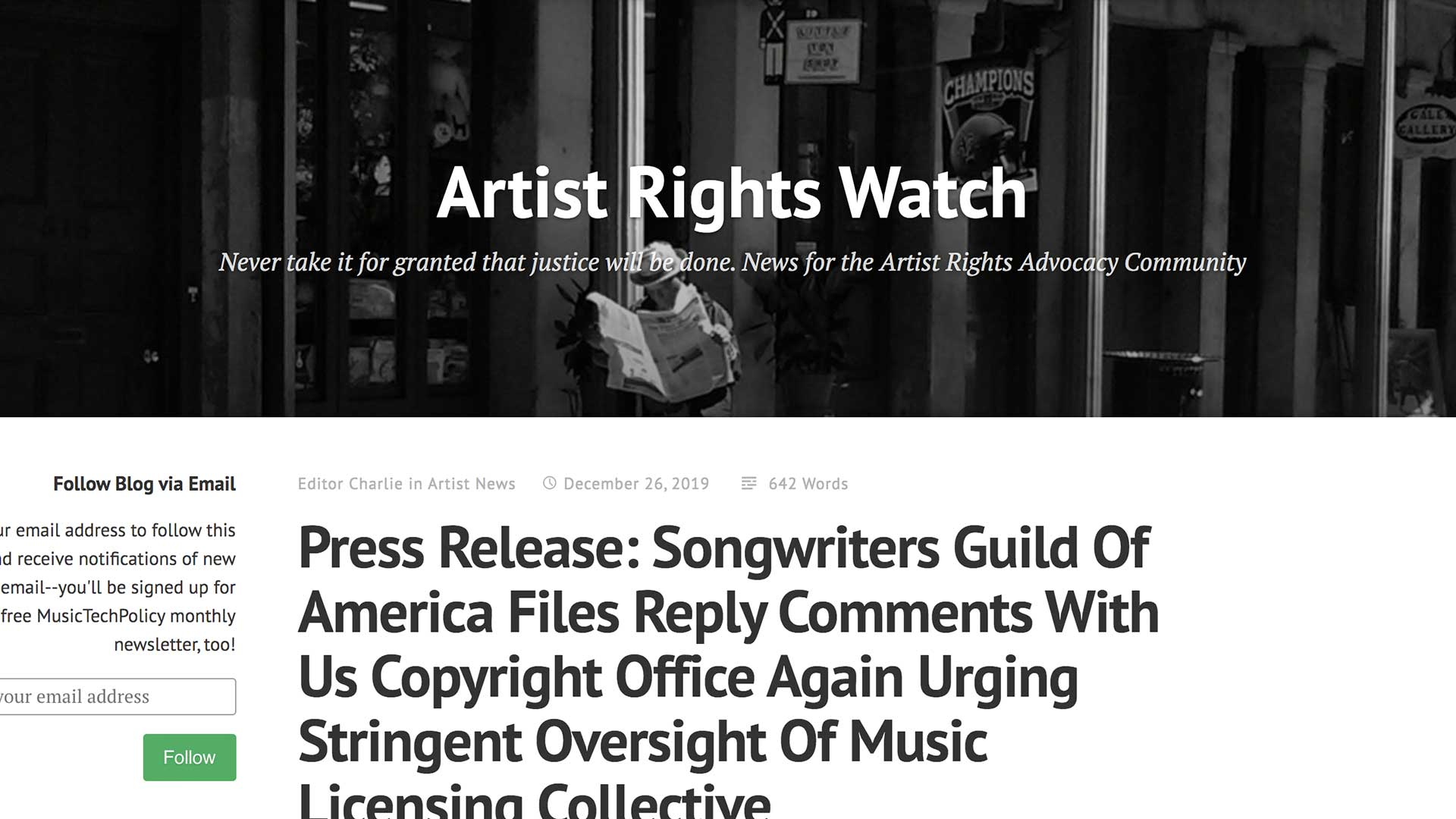 Fairness Rocks News Press Release: Songwriters Guild Of America Files Reply Comments With Us Copyright Office Again Urging Stringent Oversight Of Music Licensing Collective