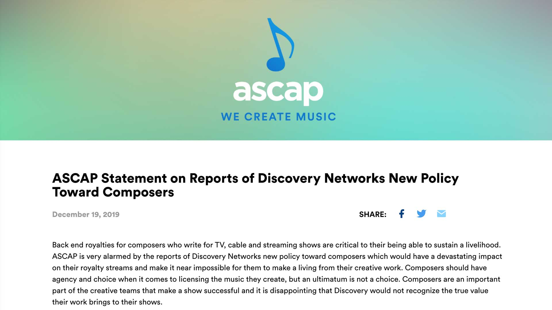Fairness Rocks News ASCAP Statement on Reports of Discovery Networks New Policy Toward Composers