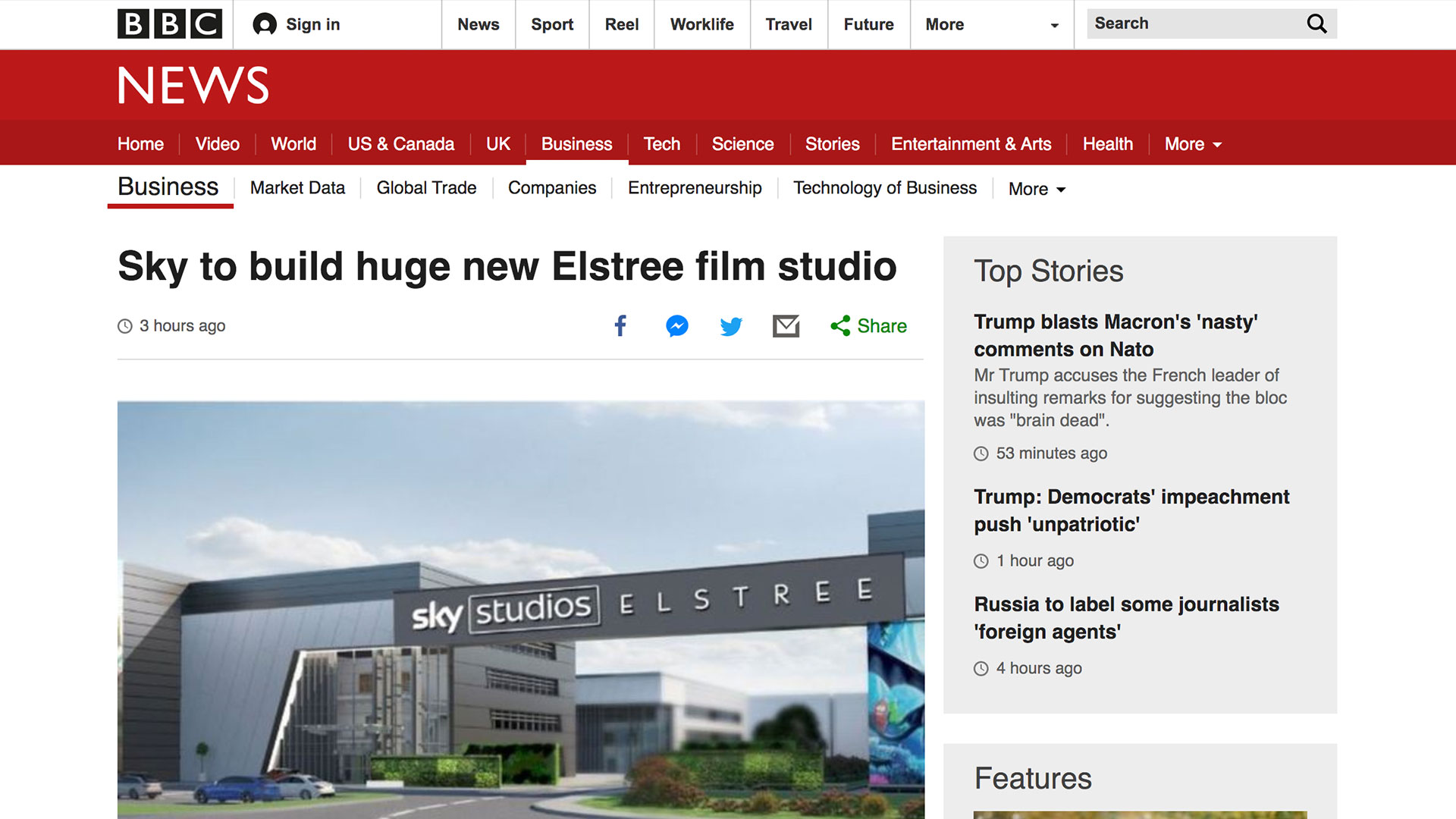 Fairness Rocks News Sky to build huge new Elstree film studio