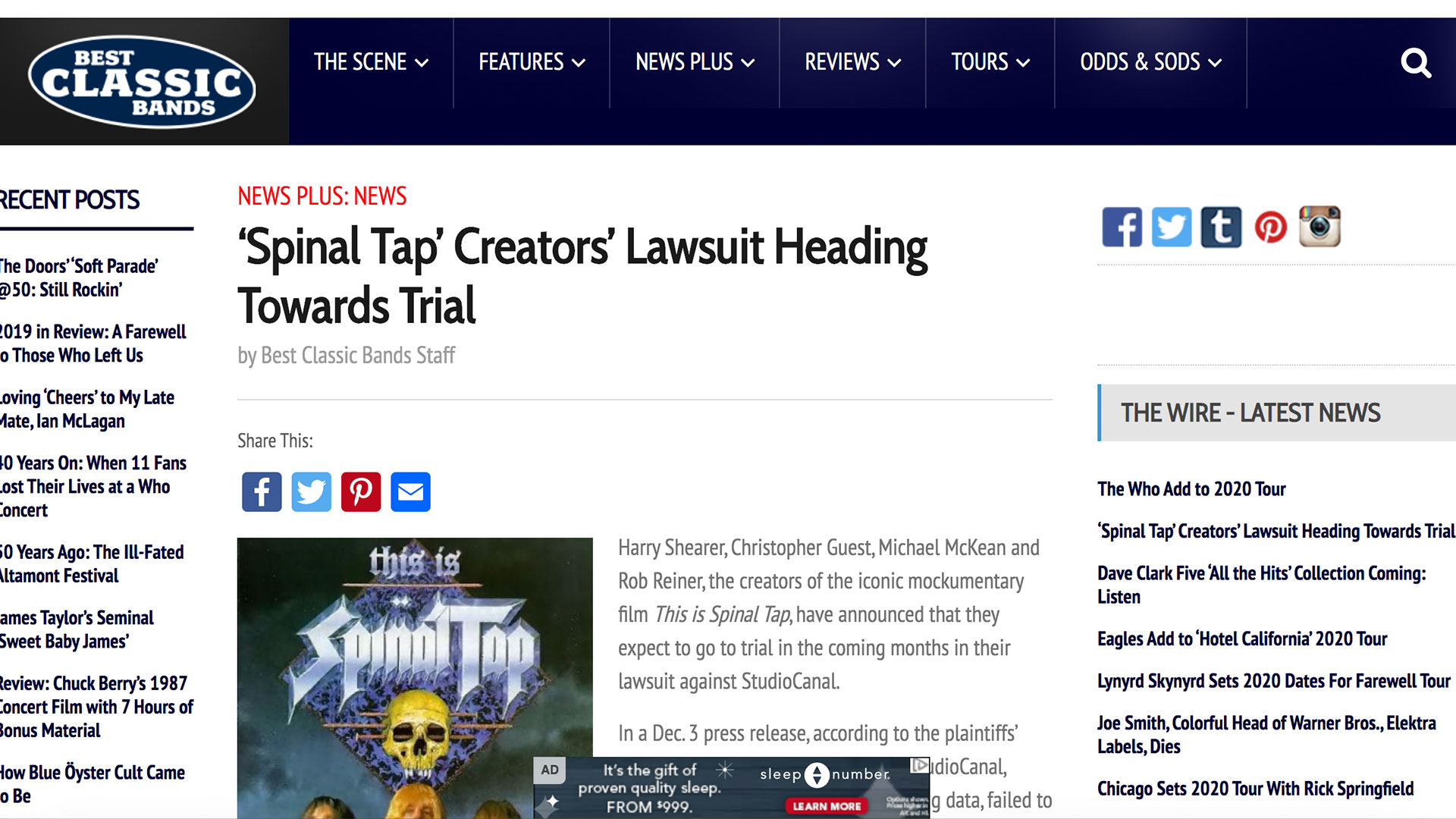 Fairness Rocks News 'Spinal Tap' Creators' Lawsuit Heading Towards Trial