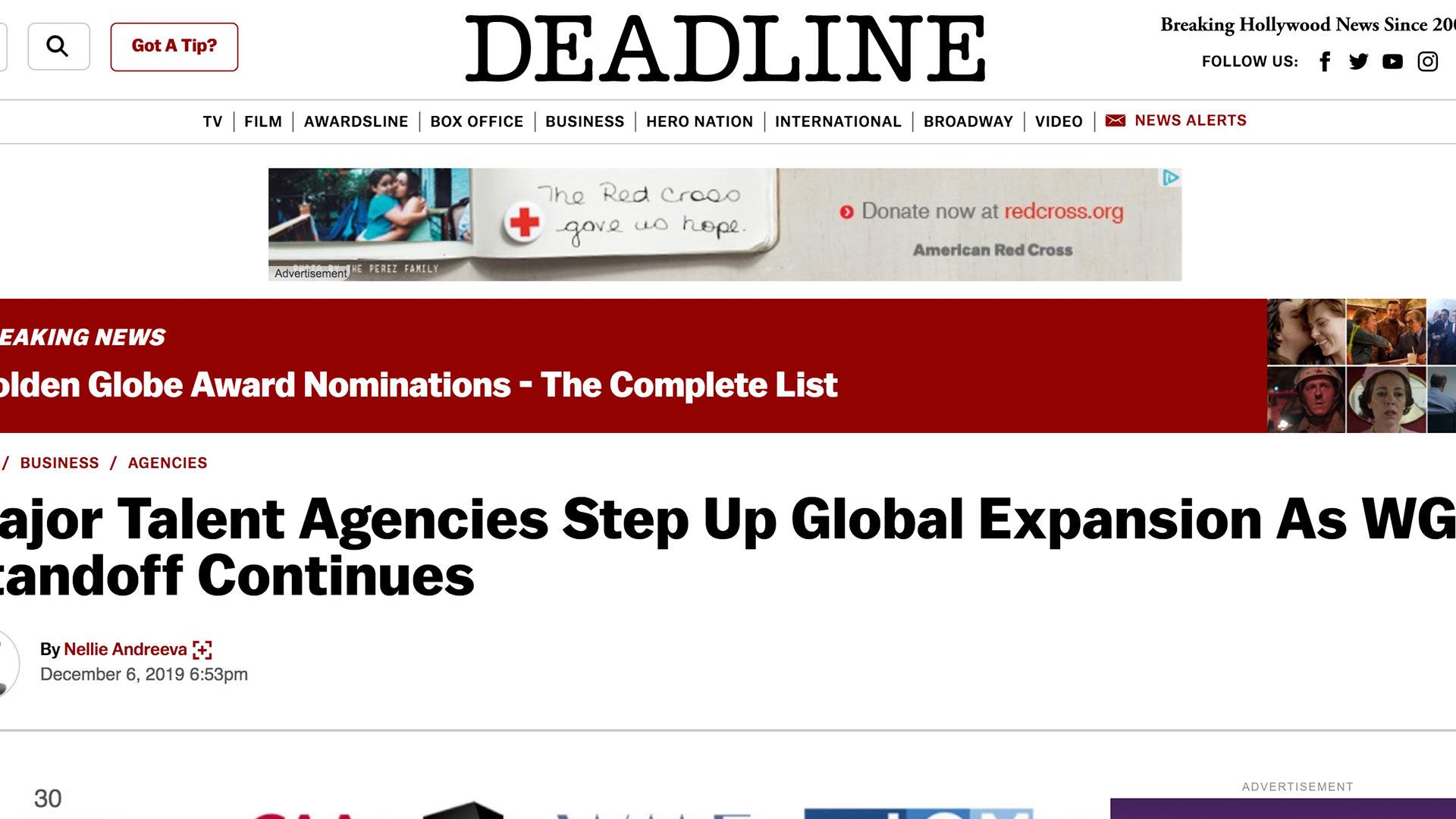Fairness Rocks News Major Talent Agencies Step Up Global Expansion As WGA Standoff Continues