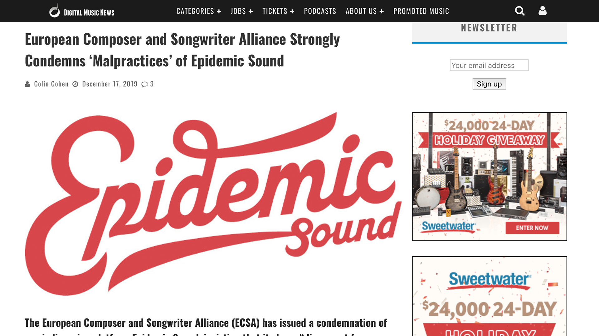 Fairness Rocks News European Composer and Songwriter Alliance Strongly Condemns 'Malpractices' of Epidemic Sound