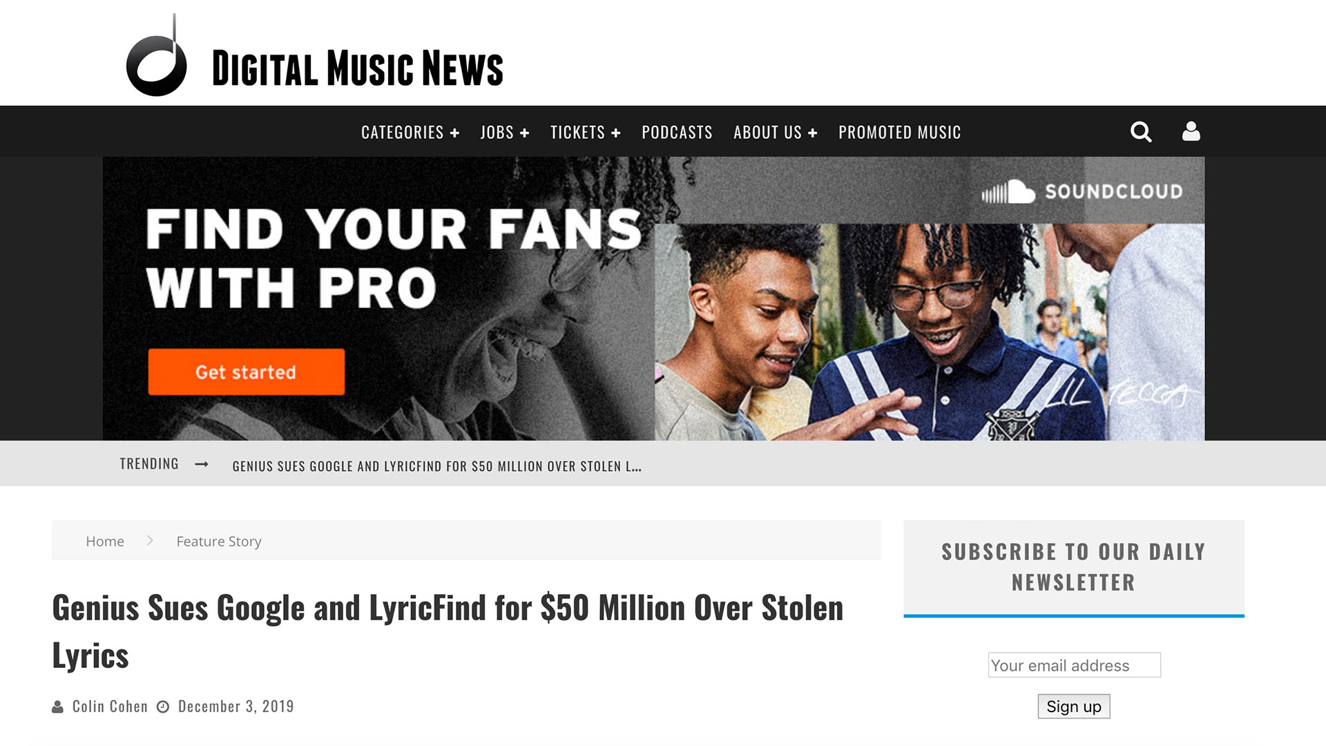Fairness Rocks News Genius Sues Google and LyricFind for $50 Million Over Stolen Lyrics