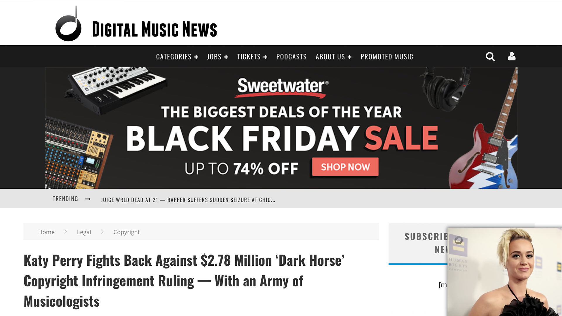 Fairness Rocks News Katy Perry Fights Back Against $2.78 Million 'Dark Horse' Copyright Infringement Ruling — With an Army of Musicologists
