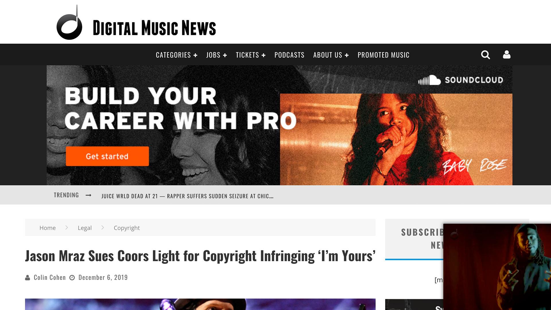 Fairness Rocks News Jason Mraz Sues Coors Light for Copyright Infringing 'I'm Yours'