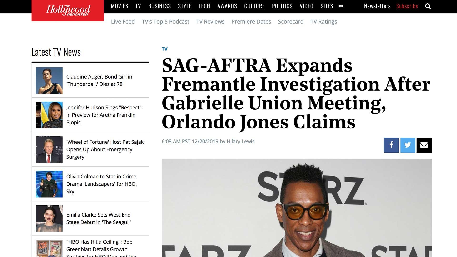 Fairness Rocks News SAG-AFTRA Expands Fremantle Investigation After Gabrielle Union Meeting, Orlando Jones Claims