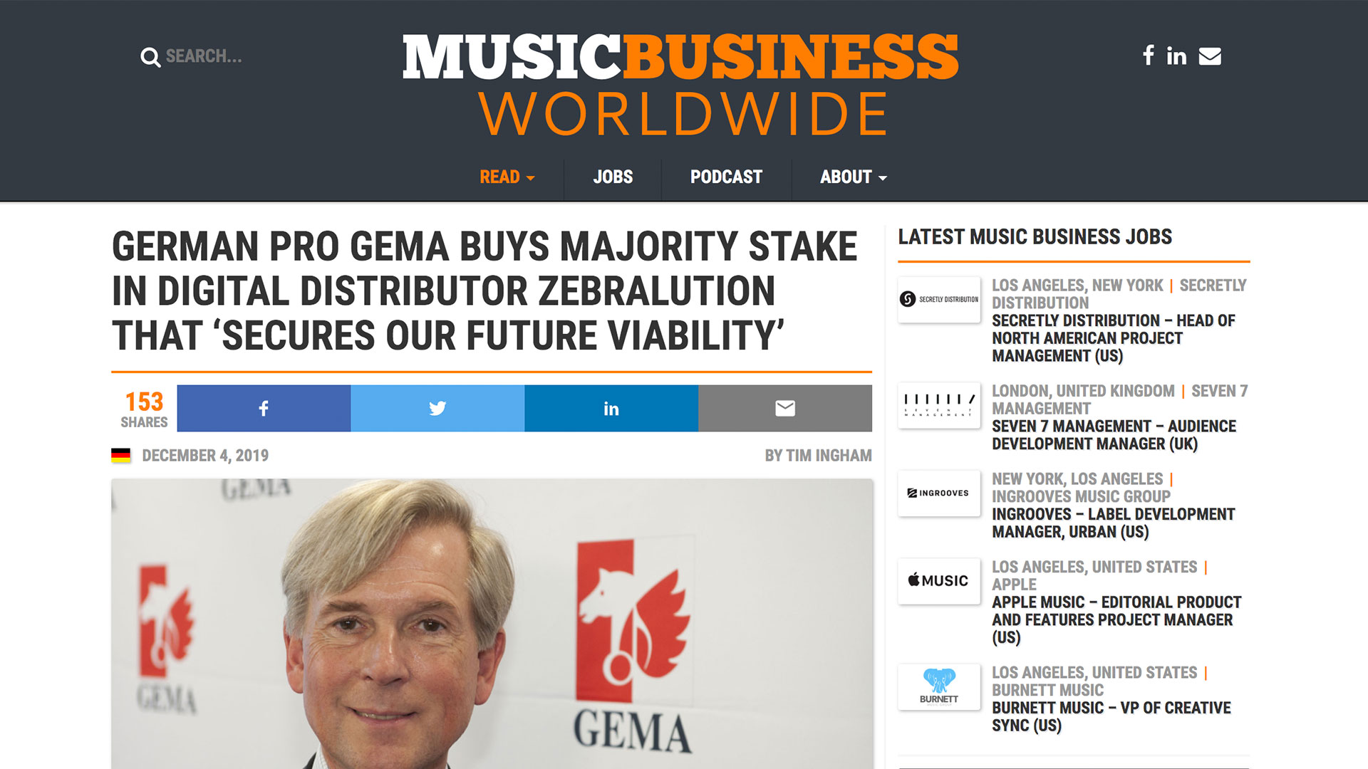 Fairness Rocks News GERMAN PRO GEMA BUYS MAJORITY STAKE IN DIGITAL DISTRIBUTOR ZEBRALUTION THAT 'SECURES OUR FUTURE VIABILITY'