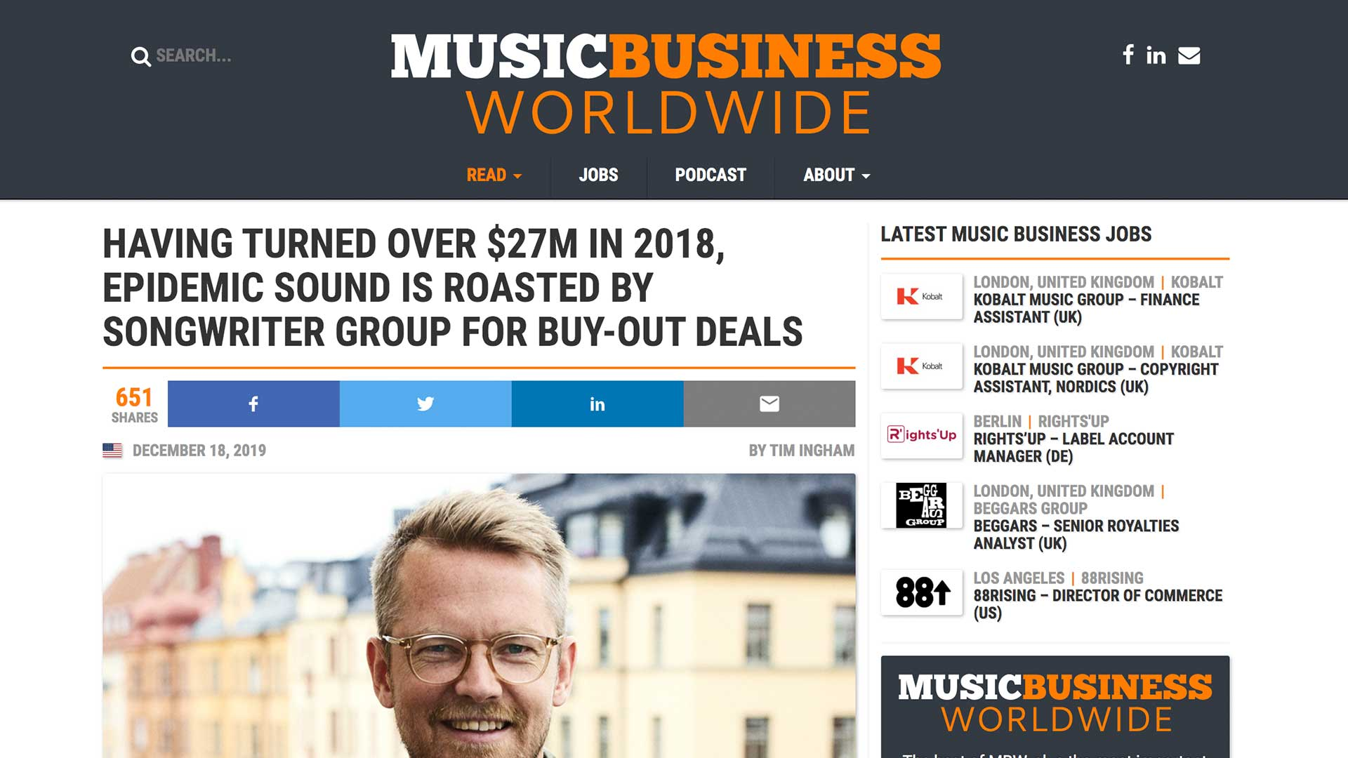 Fairness Rocks News HAVING TURNED OVER $27M IN 2018, EPIDEMIC SOUND IS ROASTED BY SONGWRITER GROUP FOR BUY-OUT DEALS