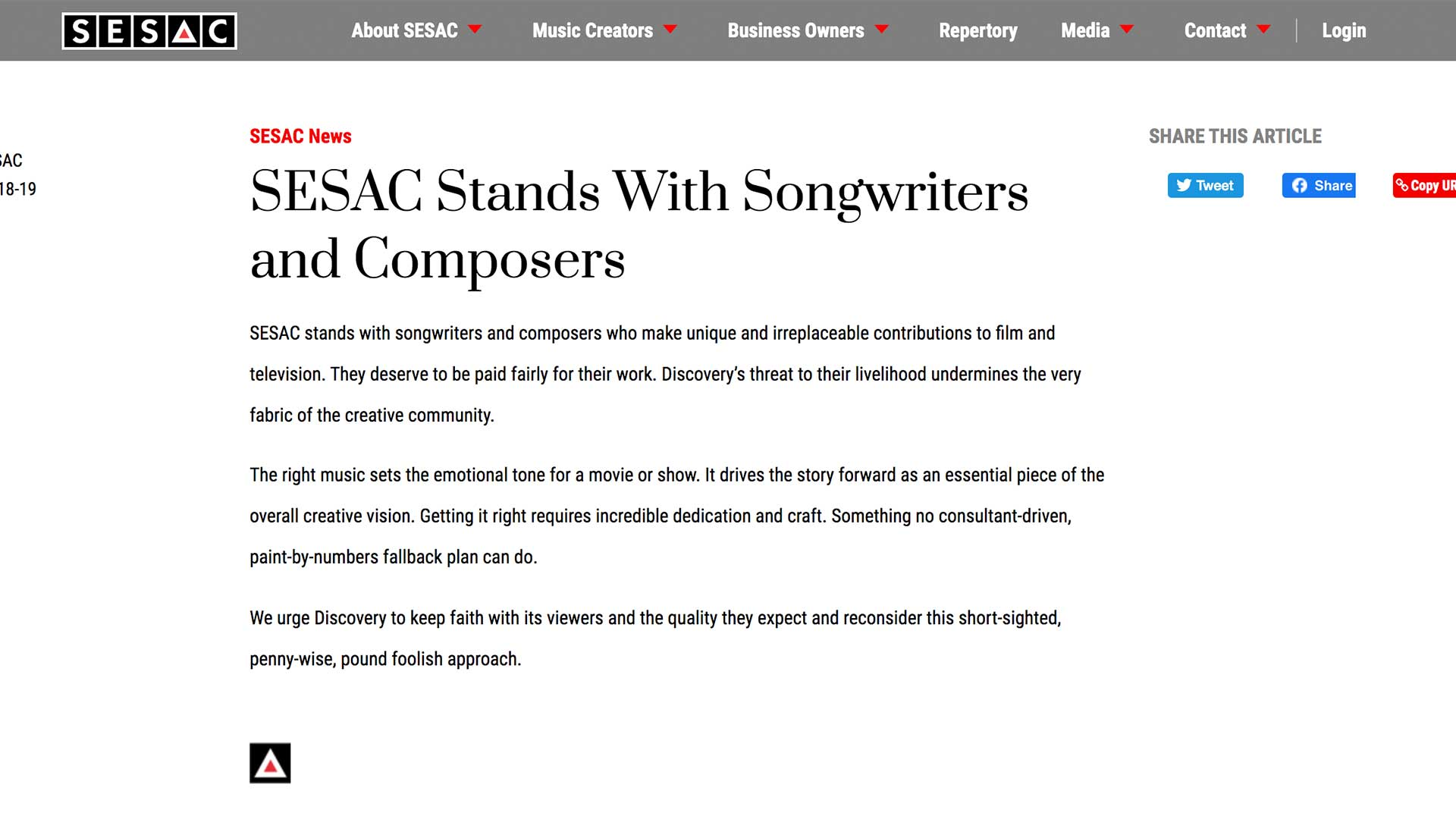 Fairness Rocks News SESAC Stands With Songwriters and Composers