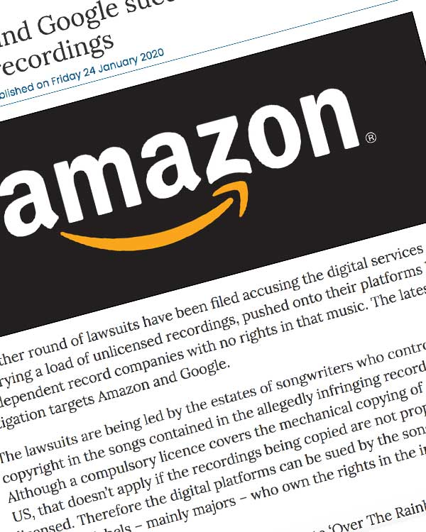 Fairness Rocks News Amazon and Google sued again over bootleg recordings