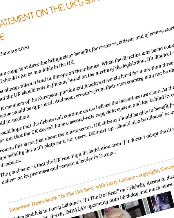 Fairness Rocks News IMPALA STATEMENT ON THE UK'S STANCE ON THE EU COPYRIGHT DIRECTIVE