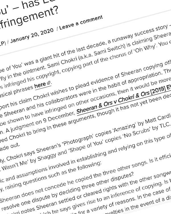 Fairness Rocks News 'Shape of You' – has Ed Sheeran got form for copyright infringement?