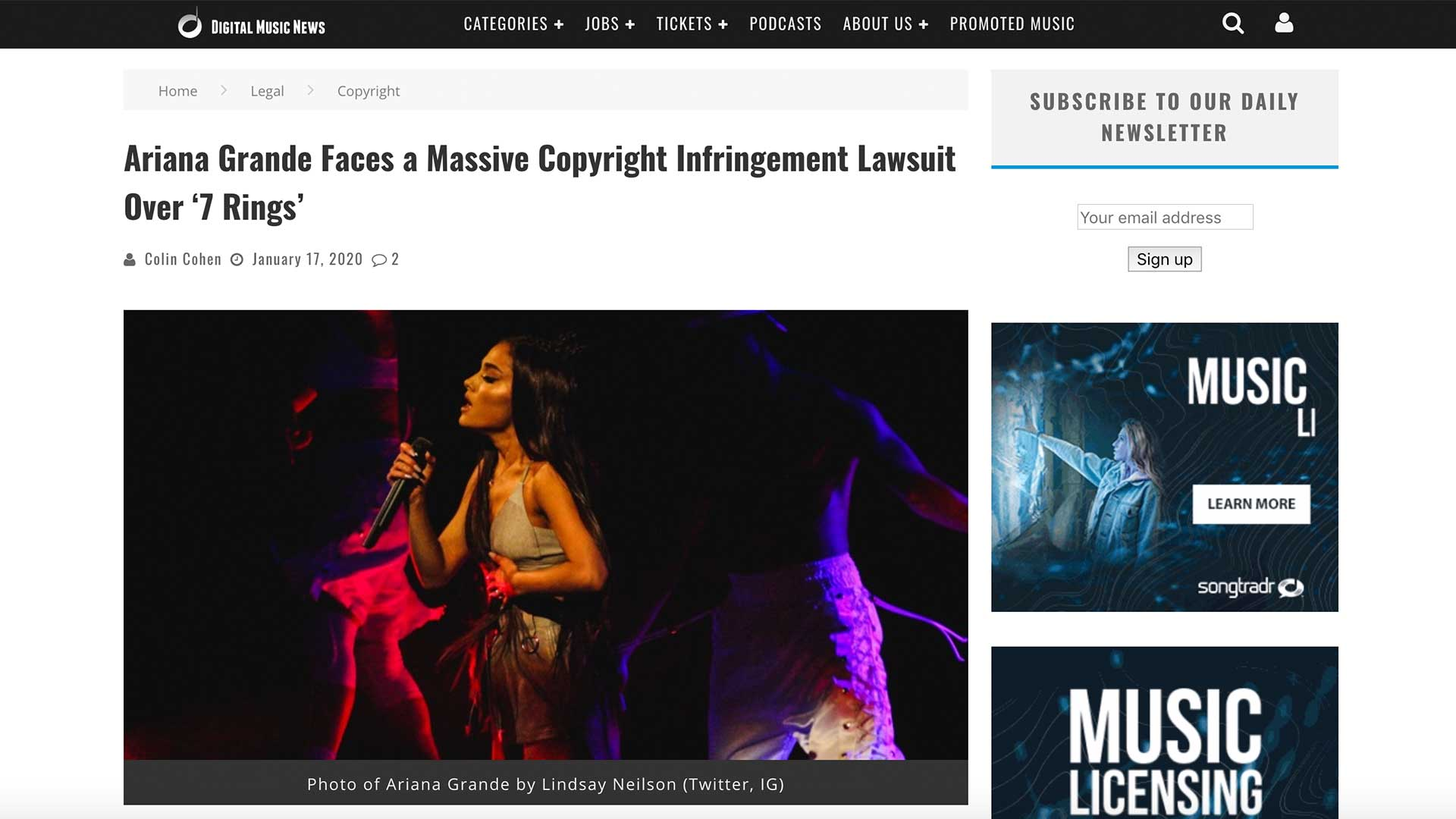 Fairness Rocks News Ariana Grande Faces a Massive Copyright Infringement Lawsuit Over '7 Rings'