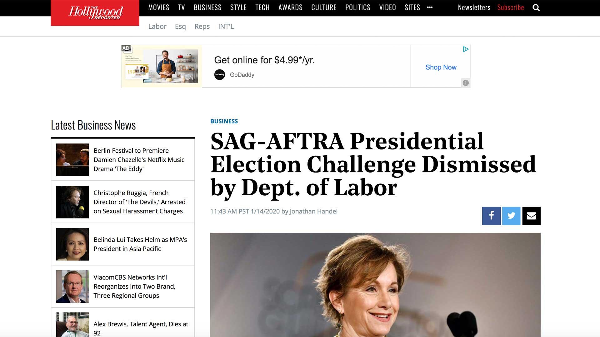 Fairness Rocks News SAG-AFTRA Presidential Election Challenge Dismissed by Dept. of Labor