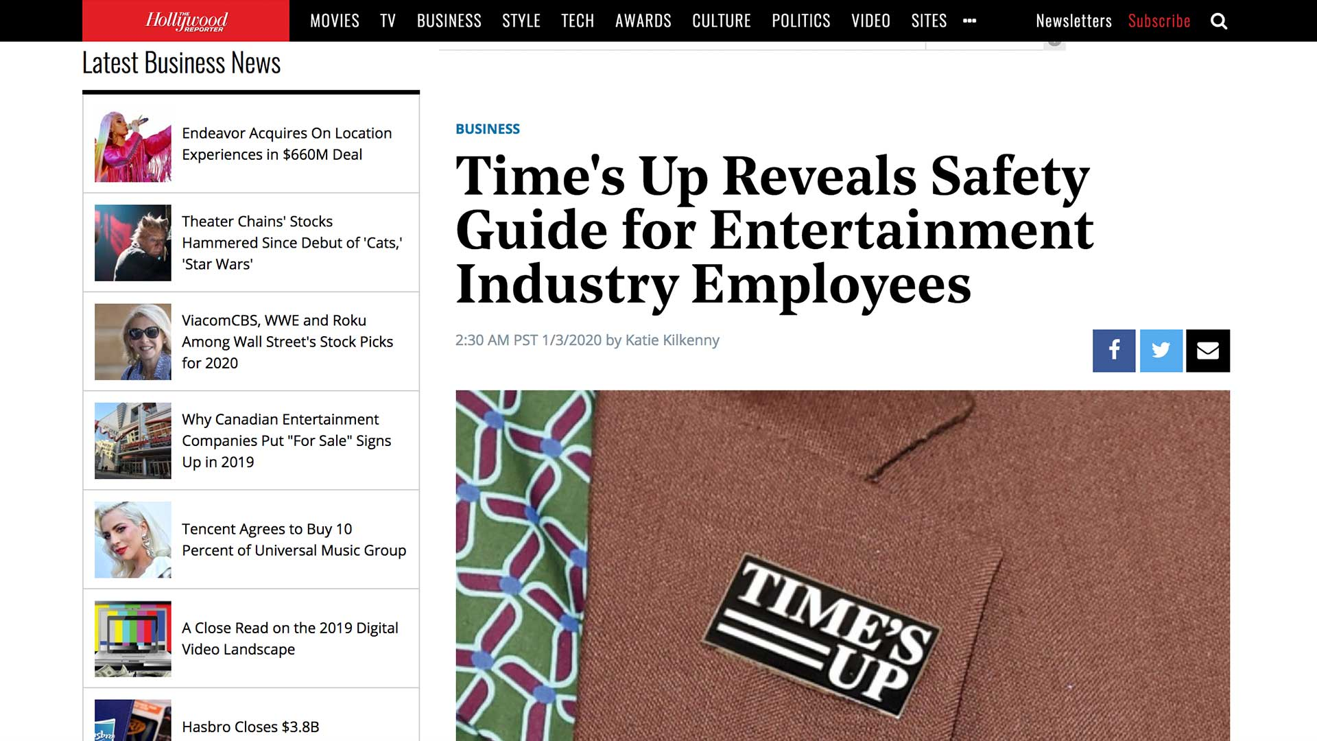 Fairness Rocks News Time's Up Reveals Safety Guide for Entertainment Industry Employees