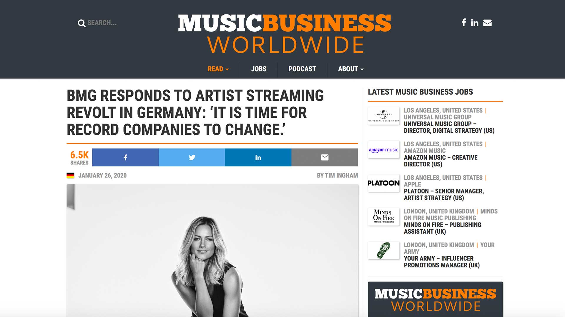 Fairness Rocks News BMG RESPONDS TO ARTIST STREAMING REVOLT IN GERMANY: 'IT IS TIME FOR RECORD COMPANIES TO CHANGE.'