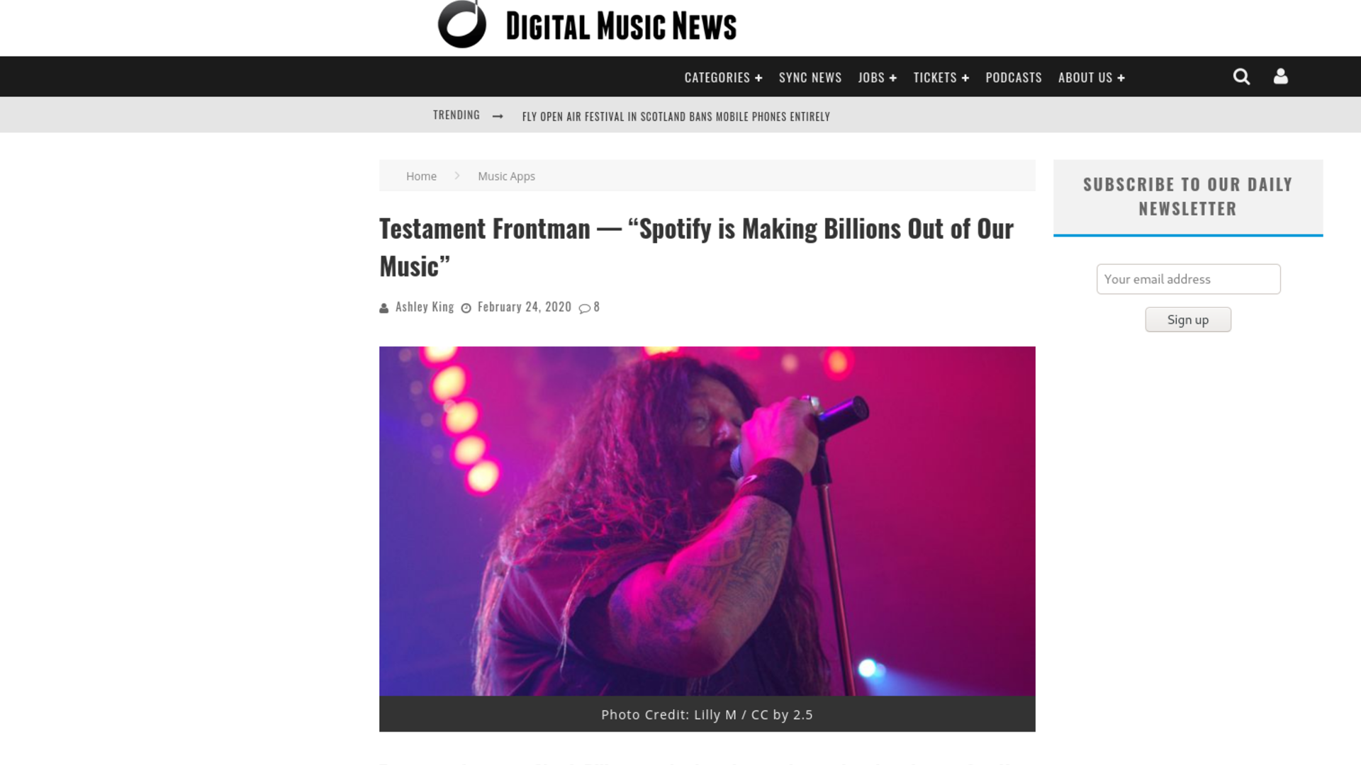 "Fairness Rocks News Testament Frontman — ""Spotify is Making Billions Out of Our Music"""