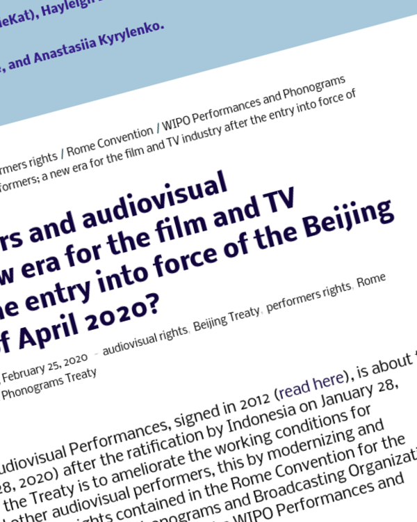 Fairness Rocks News The rights of actors and audiovisual performers; a new era for the film and TV industry after the entry into force of the Beijing Treaty in 28th of April 2020?