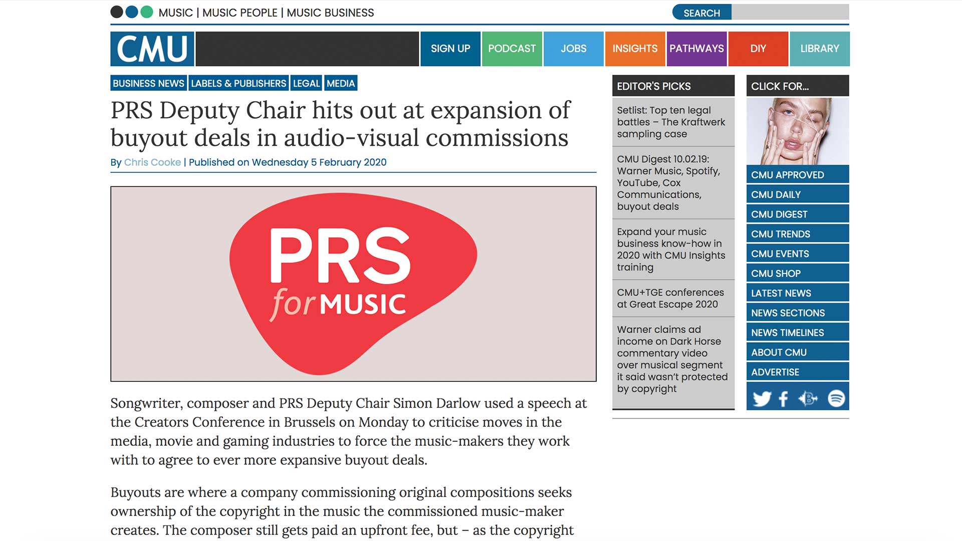 Fairness Rocks News PRS Deputy Chair hits out at expansion of buyout deals in audio-visual commissions