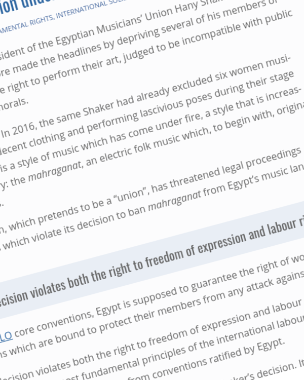 Fairness Rocks News Egypt | Freedom of expression undermined once again