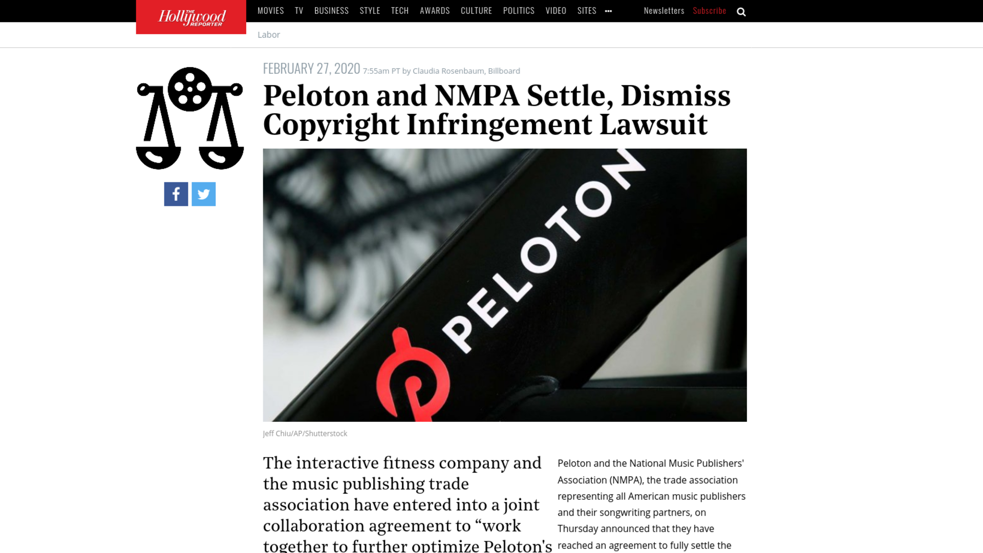 Fairness Rocks News Peloton and NMPA Settle, Dismiss Copyright Infringement Lawsuit