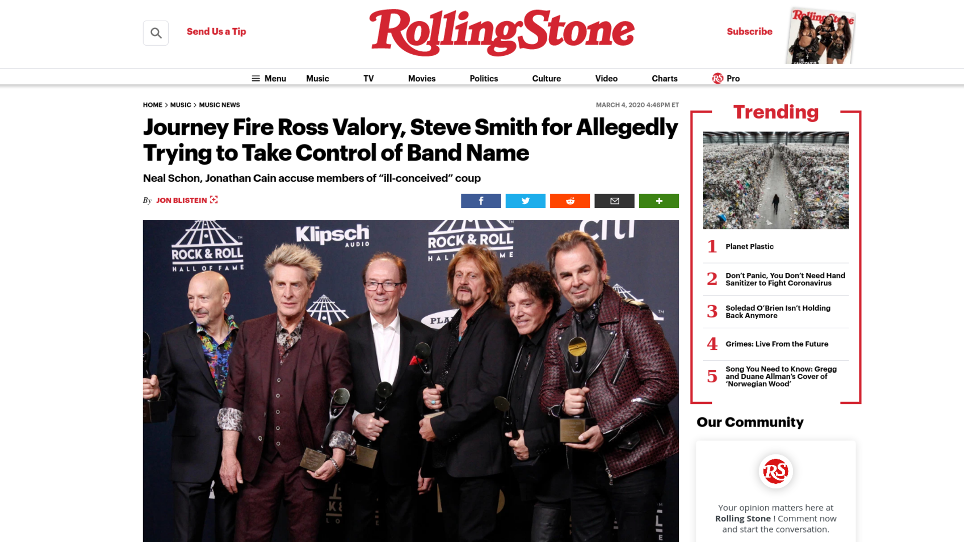 Fairness Rocks News Journey Fire Ross Valory, Steve Smith for Allegedly Trying to Take Control of Band Name