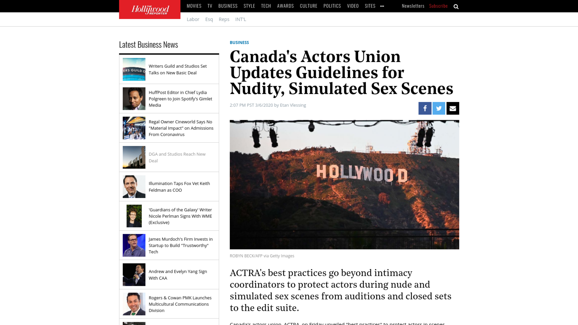 Fairness Rocks News Canada's Actors Union Updates Guidelines for Nudity, Simulated Sex Scenes