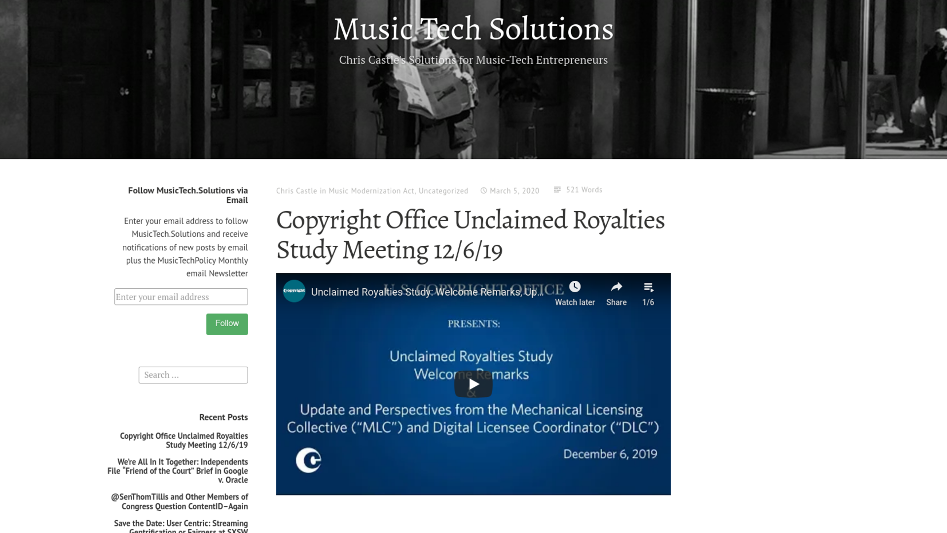 Fairness Rocks News Copyright Office Unclaimed Royalties Study Meeting 12/6/19