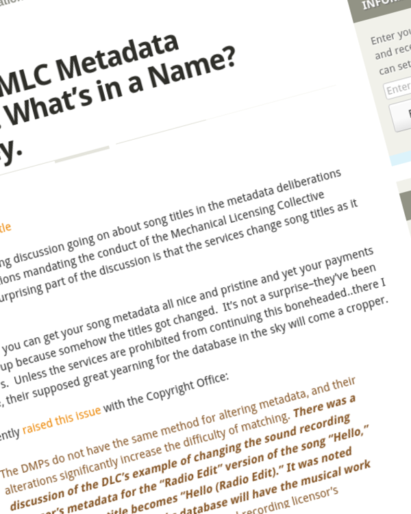 Fairness Rocks News Guest Post: MLC Metadata Showdown: What's in a Name? Your money.