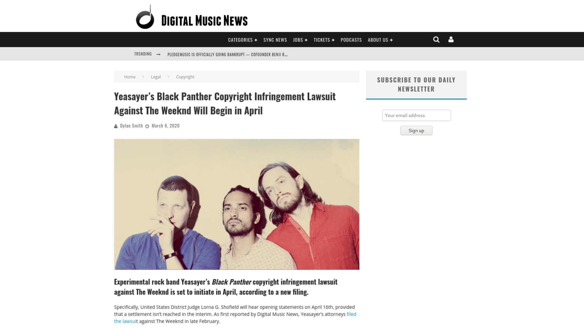 Fairness Rocks News Yeasayer's Black Panther Copyright Infringement Lawsuit Against The Weeknd Will Begin in April