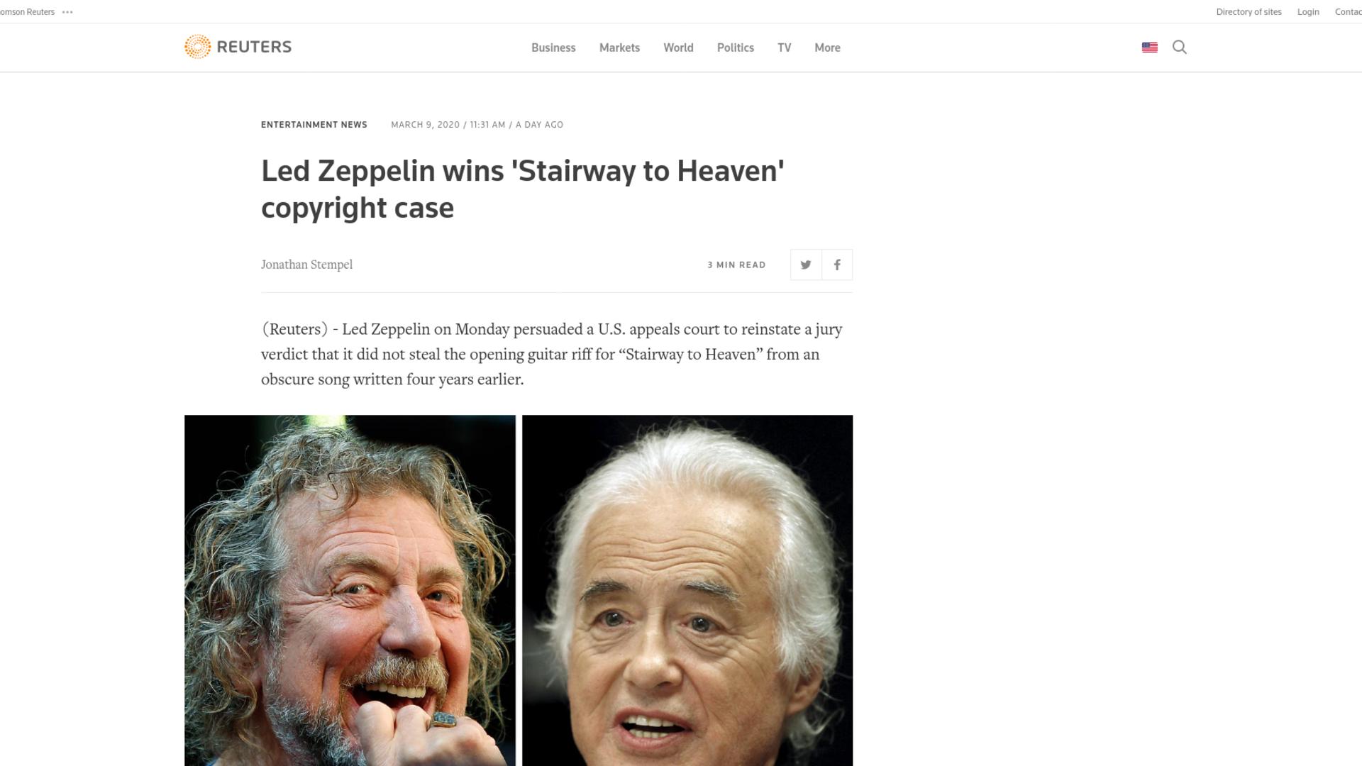 Fairness Rocks News Led Zeppelin wins 'Stairway to Heaven' copyright case
