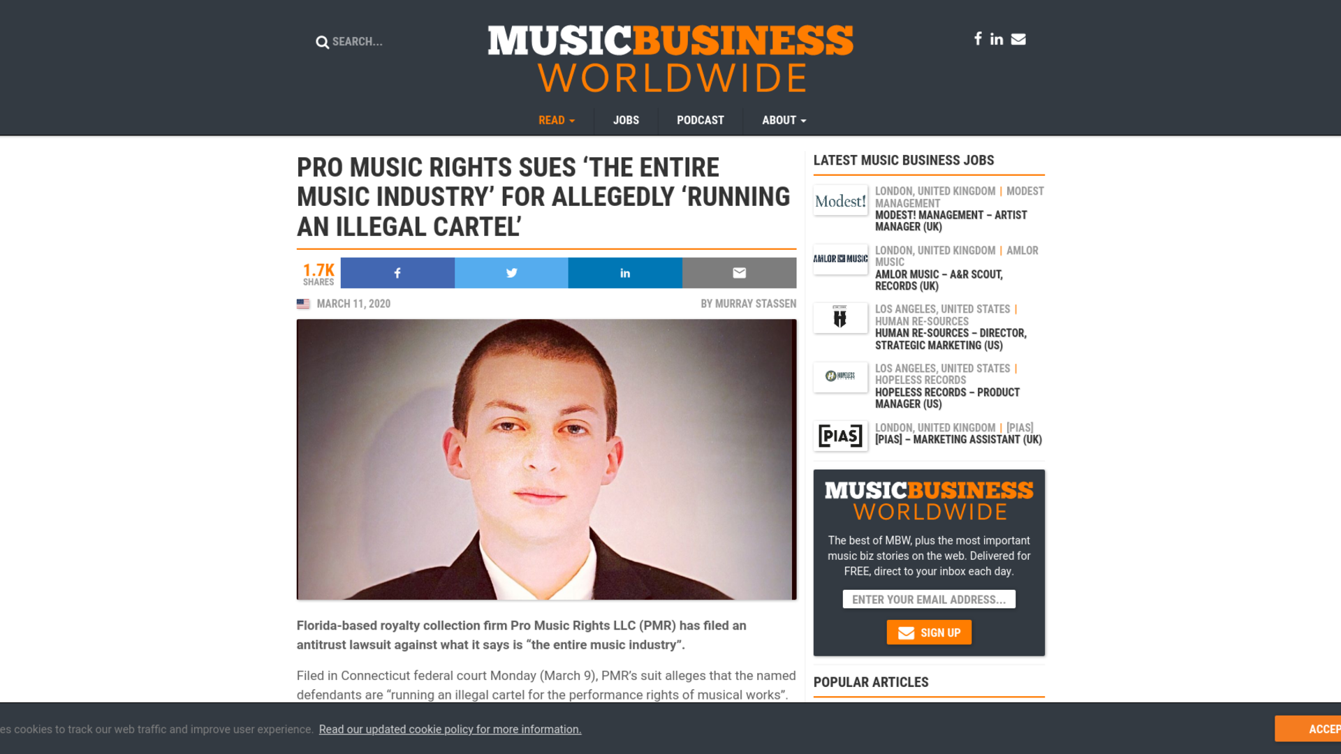 Fairness Rocks News Pro Music Rights sues 'the entire music industry' for allegedly 'running an illegal cartel'